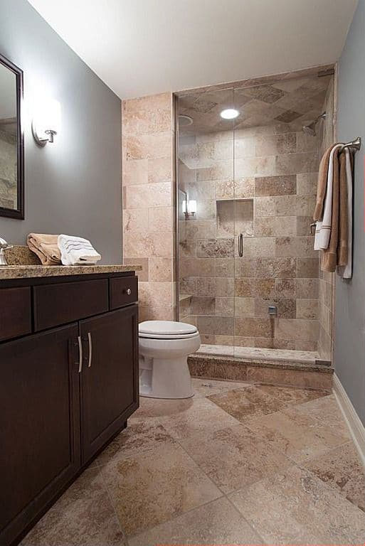 bathroom travertine tile